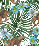 Watercolor painting seamless pattern with tamanduas and tropical leaves, passion flowers