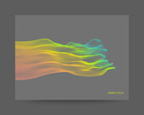Array with dynamic particles. Composition with motion effect. Abstract vector illustration.