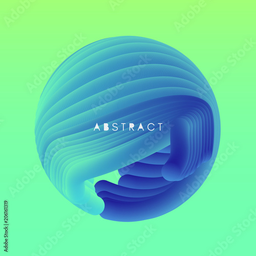 Plexiglas Abstractie Sphere. 3D Abstract wavy illustration with dynamic effect.