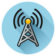 tower blue circle flat icon