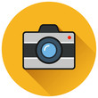 camera orange circle flat icon
