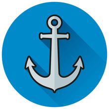 Anchor Blue Circle Flat Icon Sticker