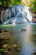 Beautiful waterfall 'Huai Mae Khamin' in Kanchanaburi, Thailand - 206163755