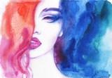 beautiful woman. fashion illustration. watercolor painting - 206166718