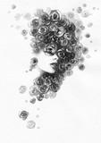 beautiful woman. fashion illustration. watercolor painting - 206166741