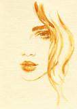 beautiful woman. fashion illustration. watercolor painting - 206167347