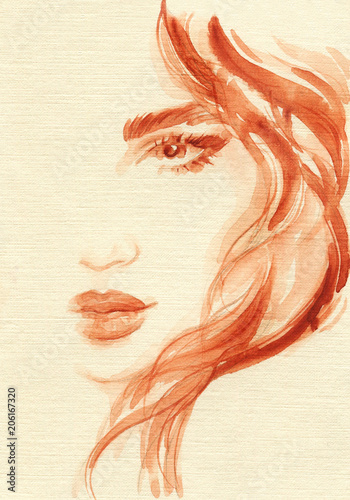 Fotobehang Anna I. beautiful woman. fashion illustration. watercolor painting