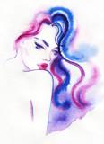 beautiful woman. fashion illustration. watercolor painting - 206167581