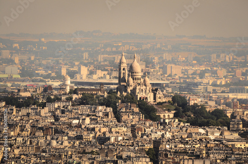 The Famous Sacre Coeur Basilica Overhanging Paris from the Mound Montmartre