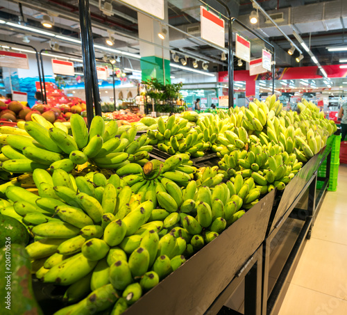 Fresh banana on shelf in supermarket.