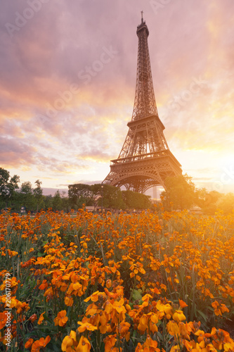 Canvas Eiffeltoren Sunset at Eiffel tower in Paris, France with flowers in the foreground