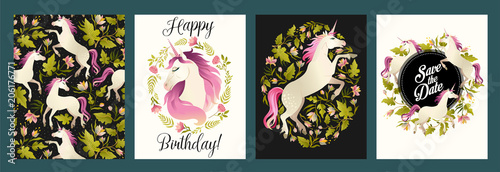 Unicorn head in wreath of flowers. Watercolor illustration. Vector templates. Design element for card, poster, banner.