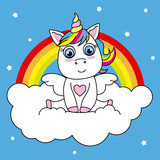 unicorn sitting on a cloud with rainbow background