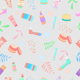 Vector seamless pattern with skin care products.