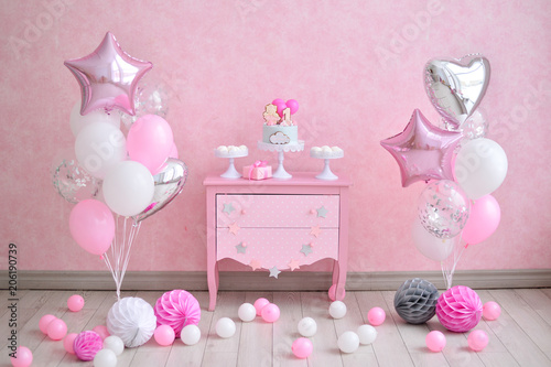 Cake For One Year Birthday Decorations Balloons Pink And White Colors