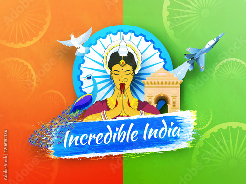 Incredible India text with traditional lady greeting namaste with flying dove and fighter plane, India Gate and peacock on saffron and green background.