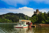 Moored ship under the castle in Niedzica. Poland - 206197145
