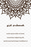 Eid mubarak greeting card with mandala