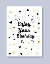 Enjoy Your Birthday Postcard  Illustration Sticker