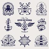 Sea and nautical emblems. Vector illustration.