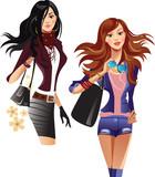 beauty fashion girls, stylish fashionable beautiful women - 206199959