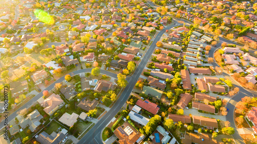 Fotobehang Meloen Aerial view of a typical Australian suburb
