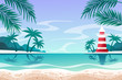 Summer seascape. lighthouse. outdoor. vector illustration