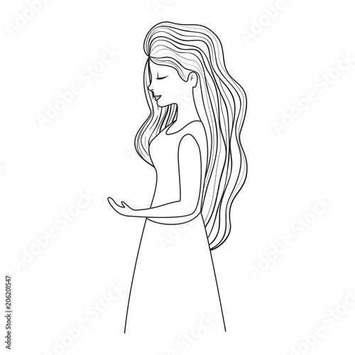 beautiful woman with long hair vector illustration design