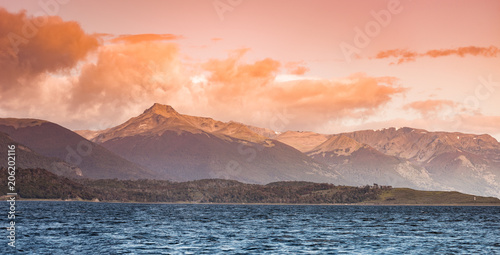 Fotobehang Antarctica Beautiful landscape at sunset, Beagle Channel, Patagonia, Argentina