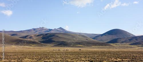 Canvas Blauwe hemel Altiplano landscape, Peru