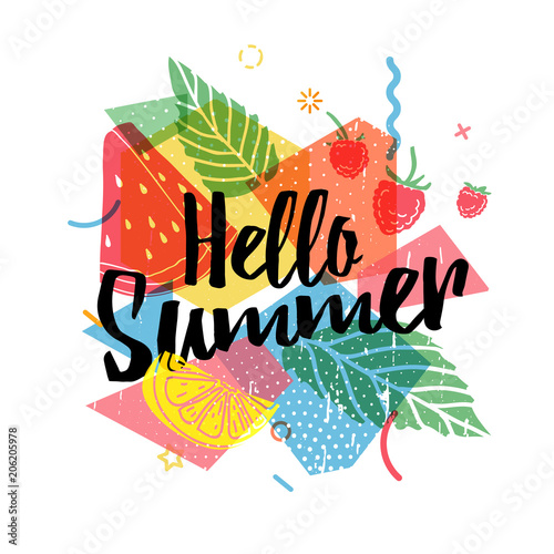 Design print for summer season. Abstract background with silhouettes fruit, lemon, strawberry and mint, geometric particle. Text hello summer on grunge modern texture backdrop. Vector  - 206205978