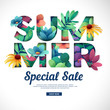 Design special sale print for summer season. Logo with flower, leaf, herb and branch decoration. Text Summer cut paper style for season offer. Vector  - 206206137