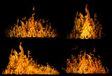 set of high yellow flames isolated on black - 206206138
