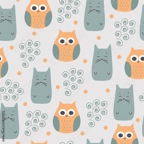 cute vector print with owl and cat
