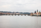 View of the Vltava River from the bridge in the Prague area