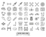 Car parts, service and repair line icon set - 206222340