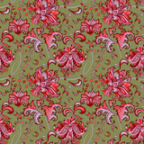 seamless pattern with red flowers  - 206222561