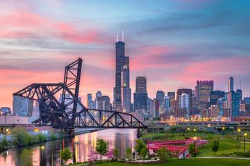 Chicago, Illinois, USA Park and Skyline