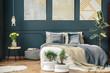 Leinwanddruck Bild - Big bed in bedroom interior