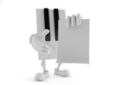 Piano character holding blank sheet of paper - 206231101