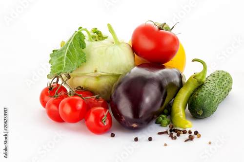 Perfect Organic Vegetables are Lying on the White Background.