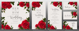 Wedding Invitation card templates with realistic of beautiful  flower on background color.  - 206235582