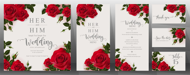 Wedding Invitation card templates with realistic of beautiful  flower on background color.