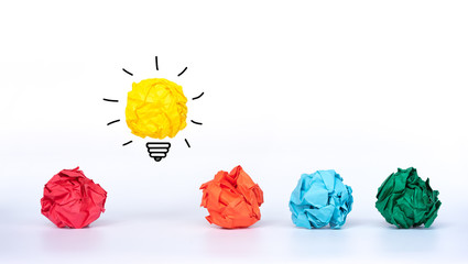 Creative idea, Inspiration, New idea and Innovation concept. Crumpled Paper light bulb with colorful crumpled paper. © Worawut