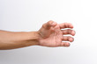 Hand holding something like a bottle isolated on white background. clipping path