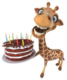 Fun giraffe - 3D Illustration - 206235920
