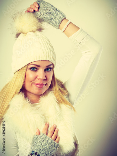 Foto Murales Woman wearing warm winter clothing