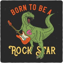 Surfing Theme Tshirt Or Poster Design  Tyrannosaurus Playing On Electric Guitar Sticker