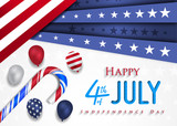 Happy 4th of July Independence Day greeting card. Happy independence day of America vector design. - 206246330