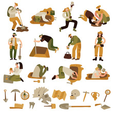 Archeology Icons Set Sticker
